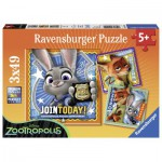 Ravensburger-09404 3 Puzzles: Zoomania