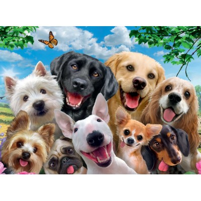 Puzzle Ravensburger-13228 XXL Teile - Delighted Dogs