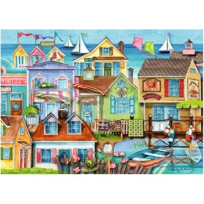 Puzzle Ravensburger-19602 Along the Wharf back