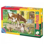 Puzzle  Dtoys-60198-AN-02 XXL Teile - Kuh und Hund