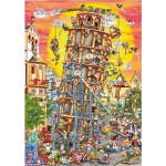 Puzzle  DToys-61218-CC01 Cartoon Collection: Der schiefe Turm von Pisa, Italien