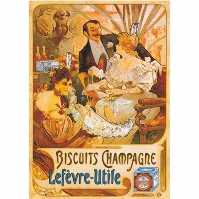 Puzzle Dtoys-69603 Vintage Posters: Biscuits Champagne Lefevre-Utile