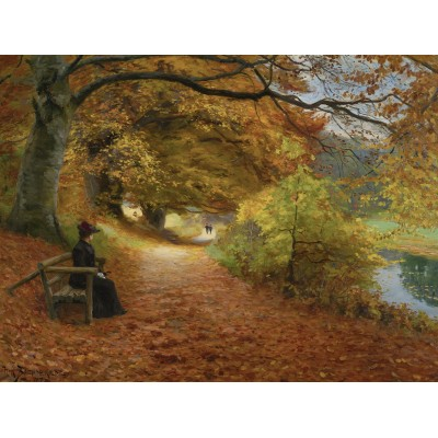 Puzzle Dtoys-75093 Hans Andersen Brendekilde: A Wooded Path in Autumn