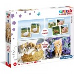 Clementoni-20240 Superkit 4 in 1 - Animals (2 Puzzles + Memory + Domino)