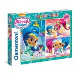Clementoni-25218 3 Puzzles - Shimmer & Shine