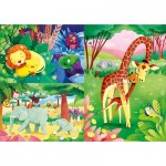 Clementoni-25233 3 Puzzles - Animals of the Savannah (3x48)