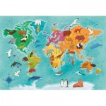 Puzzle  Clementoni-29063 Exploring Maps : World- Animals