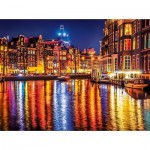 Puzzle  Clementoni-35037 Amsterdam bei Nacht