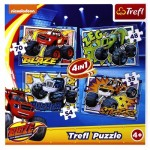 Trefl-34267 4 Puzzles - Blaze and the Monster Machines