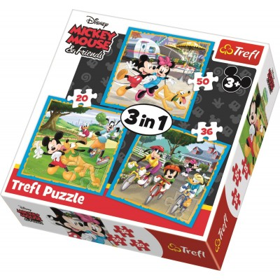 Puzzle Trefl-34846 3 in 1 - Mickey Mouse with friends