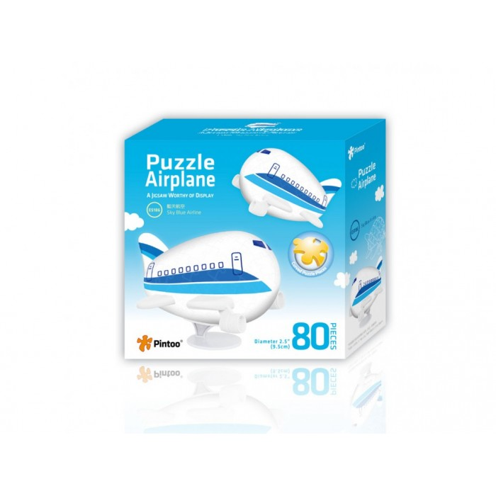 3D Airplane Puzzle - Sky Blue Airline