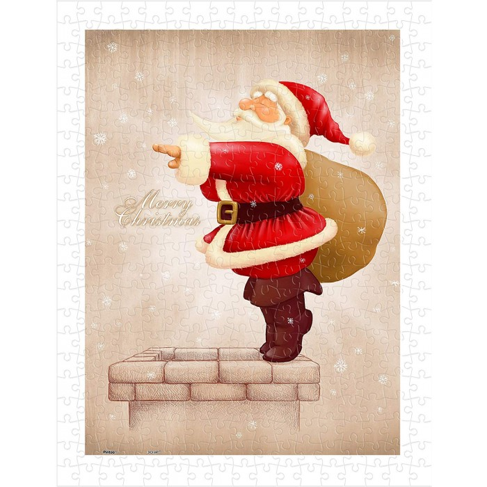 Puzzle aus Kunststoff - Santa Claus Dive in The Fireplace