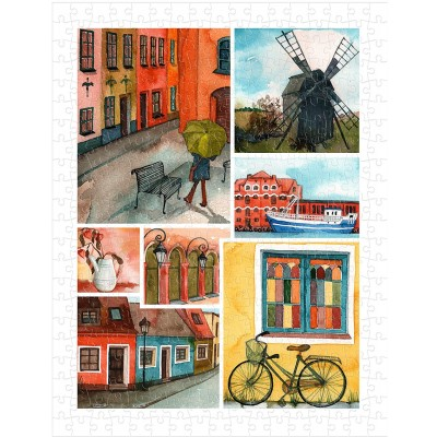 Pintoo-H1688 Puzzle aus Kunststoff - Beautiful Collage of Tranquil Streets