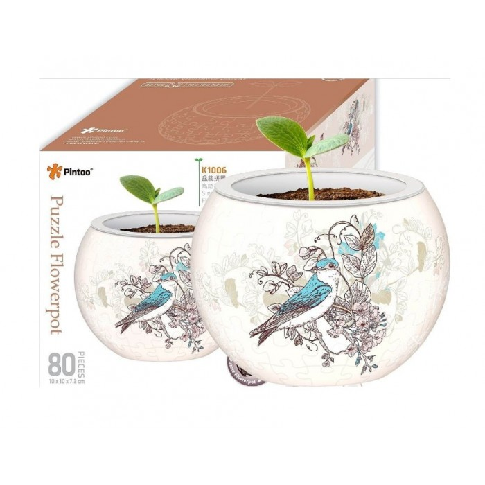 3D Puzzle - Flower Pot - Singing Birds and Flowers