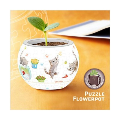 Pintoo-K1014 3D Puzzle - Flower Pot - Cat's Play Time