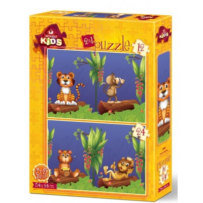 Art-Puzzle-4488 2 Puzzles - The Friends in The Forest