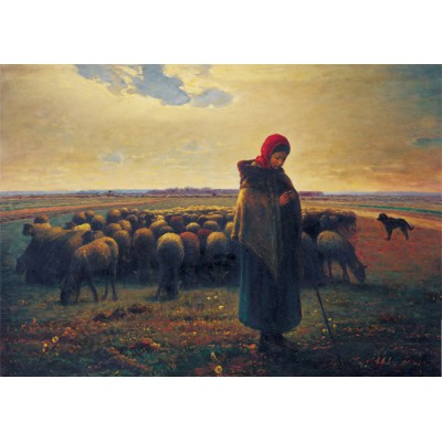 Puzzle Art-Puzzle-81047 Shepherdess with her Flock