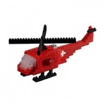 Brixies-58716 Nano 3D Puzzle - Swiss Helicopter (Level 3)