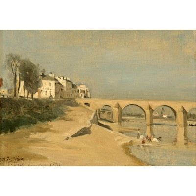 Puzzle Grafika-Kids-01347 Jean-Baptiste-Camille Corot: Bridge on the Saône River at Mâcon, 1834
