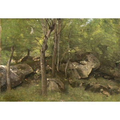 Puzzle Grafika-Kids-01354 Jean-Baptiste-Camille Corot: Rocks in the Forest of Fontainebleau, 1860-1865