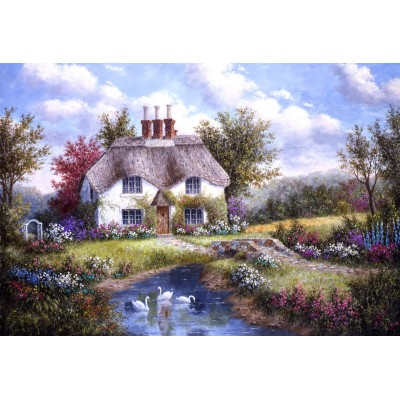 Puzzle Grafika-Kids-01864 XXL Teile - Dennis Lewan - Swan Creek Cottage