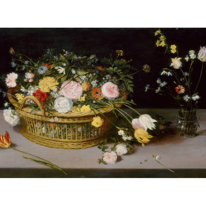 Jan Brueghel - Flowers in a Basket and a Vase, 1615
