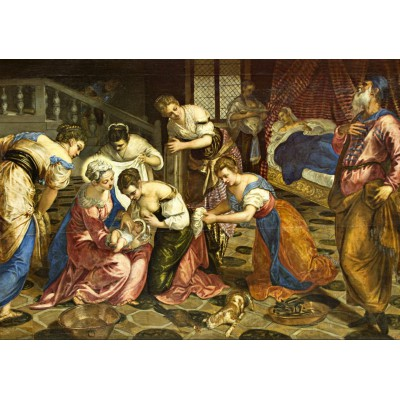 Puzzle Grafika-00277 Tintoretto: The Birth of John the Baptist, 1554