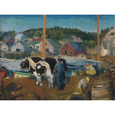 Puzzle Grafika-00292 George Bellows: Ox Team, Wharf at Matinicus, 1916