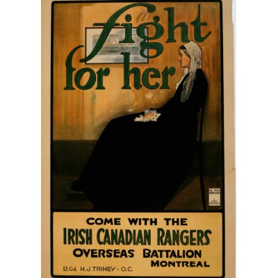 Puzzle Grafika-00298 Fight for Her, World War I recruitment poster from Canada