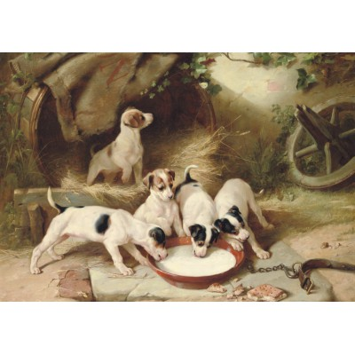 Puzzle Grafika-00358 Walter Hunt: Puppies' Breakfast, 1885