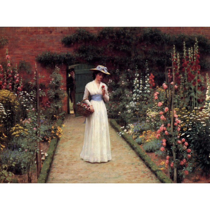 Edmund Blair Leighton: Lady in a Garden