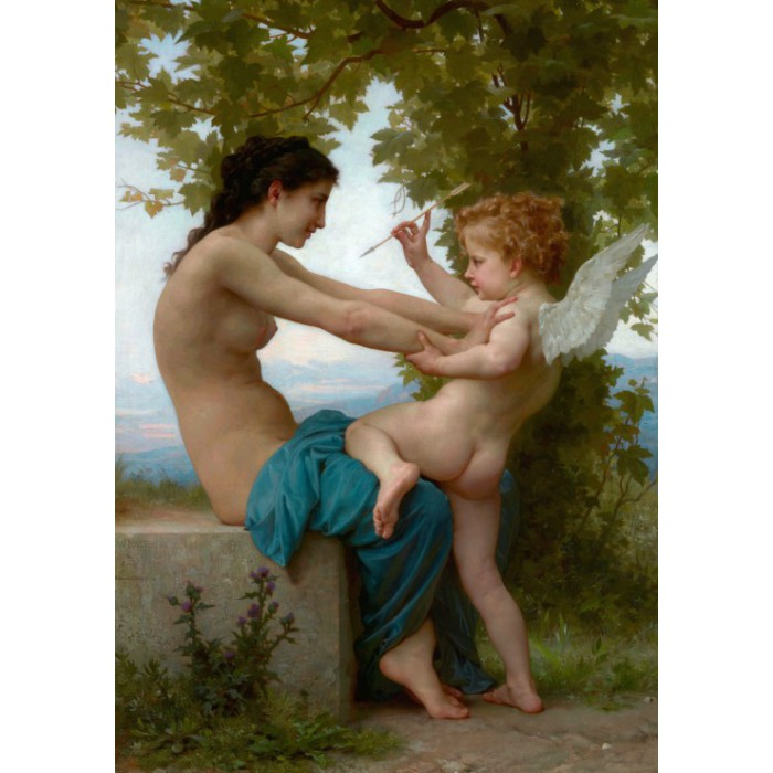 William Bouguereau: Jeune fille se défendant contre Éros, 1880