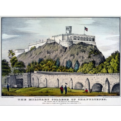Puzzle Grafika-00573 Poster Currier & Ives: Military College of Chapultepec, 1847