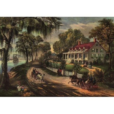 Puzzle Grafika-00574 Poster Currier & Ives: A Home on the Mississippi, 1871