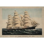 Puzzle  Grafika-00575 Poster Currier & Ives: Clipper Ship Three Brothers, 1875