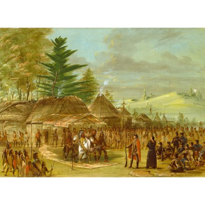 Puzzle Grafika-02231 George Catlin: Chief of the Taensa Indians Receiving La Salle. March 20, 1682, 1847-1848
