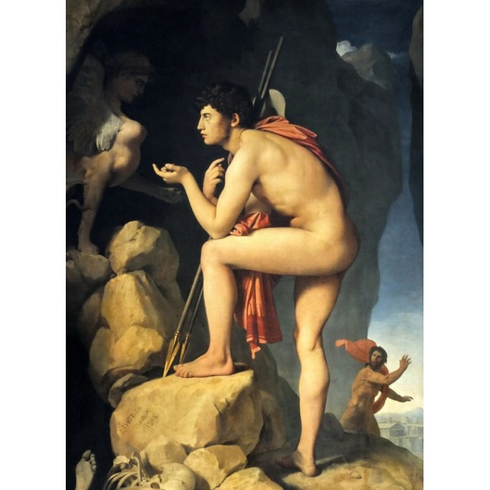 Jean-Auguste-Dominique Ingres: Oedipus explains the riddle of the sphinx, 1808