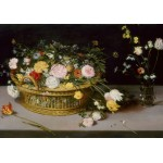 Puzzle  Grafika-02799 Jan Brueghel - Flowers in a Basket and a Vase, 1615