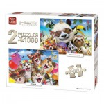 King-Puzzle-05216 2 Puzzles - Animal Collection
