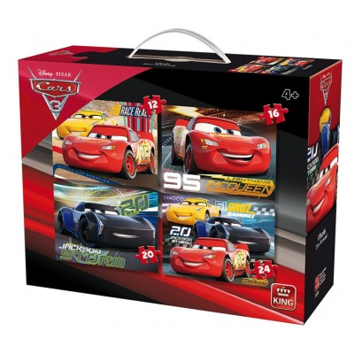 King-Puzzle-05504 4 Puzzles - Cars 3
