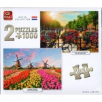 King-Puzzle-05810 2 Puzzles - Dutch Collection Sunrise Over Amsterdam & Zaanse Schans