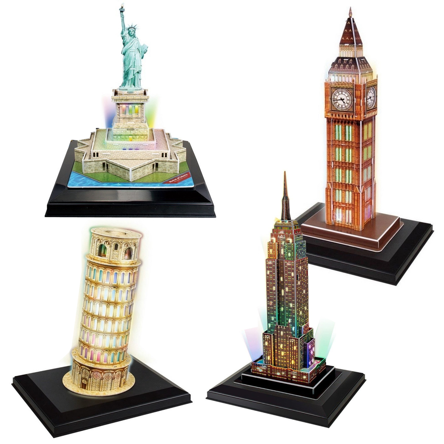 cubic-fun-4-3d-puzzles-set-led-towers-118-teile-puzzle-cubic-fun-set-led-towers