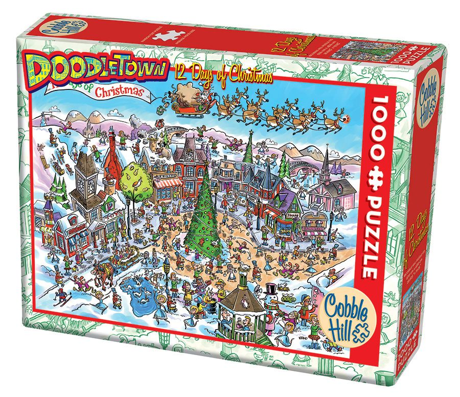 cobble-hill-outset-media-doodletown-12-days-of-christmas-1000-teile-puzzle-cobble-hill-53505