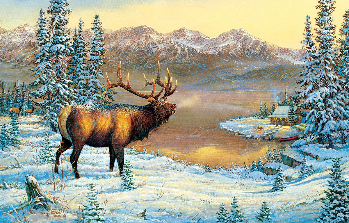 sunsout-sam-timm-elk-by-the-cabin-1000-teile-puzzle-sunsout-29015