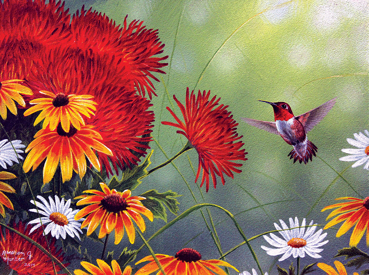 Abraham Hunter - Hummingbird and Red Flower