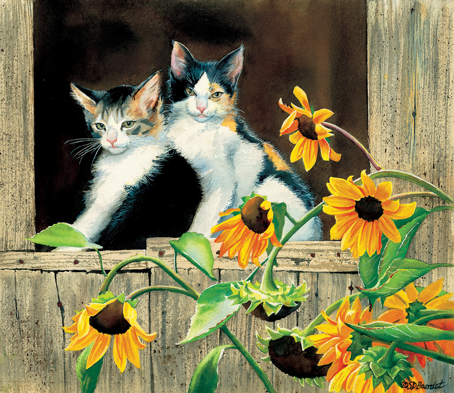 sunsout-susan-bourdet-kittens-and-sunflowers-550-teile-puzzle-sunsout-28975