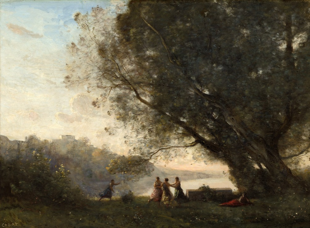 grafika-jean-baptiste-camille-corot-dance-under-the-trees-at-the-edge-of-the-lake-1865-1870-2000-t