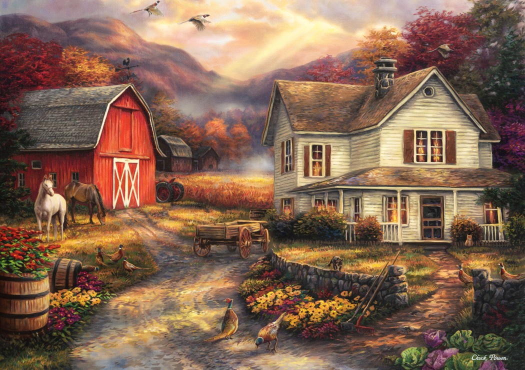 grafika-chuck-pinson-relaxing-on-the-farm-1500-teile-puzzle-grafika-t-00764
