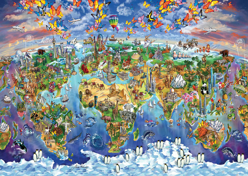 art-puzzle-world-wonders-illustrated-map-2000-teile-puzzle-art-puzzle-4717