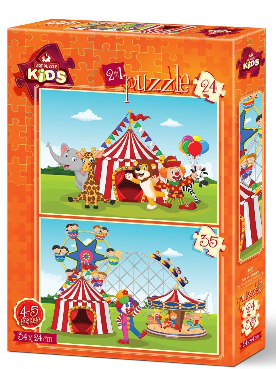 Art Puzzle 2 Puzzles - The Circus and The Fun Fair 24 Teile Puzzle Art-Puzzle-4491